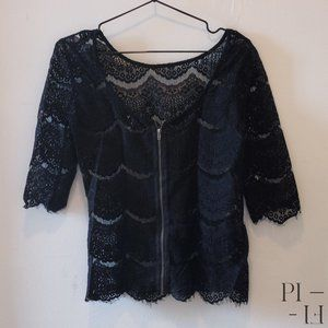 Dynamite black lace fabric T-Shirt in X-small